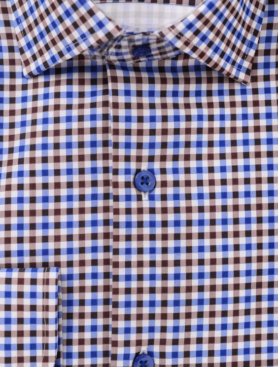 Proper Mens Performance 4-way Stretch Dress Shirt Slim Fit Brown/Blue/White