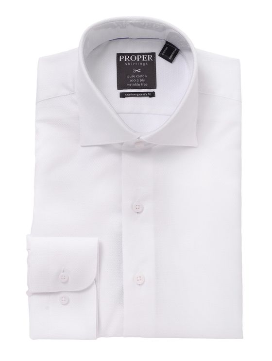 Proper White Spread Collar Wrinkle Free Dress Shirt Contemporary Fit