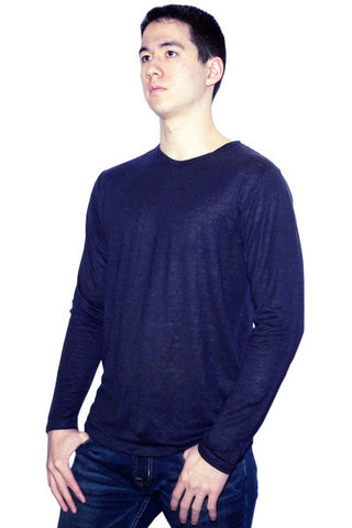 Men's Linen Long Sleeve Crew in Dark Navy