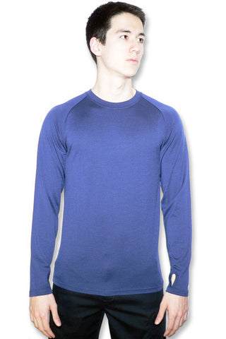 Men's Merino Long Sleeve Crew in Dusty Blue