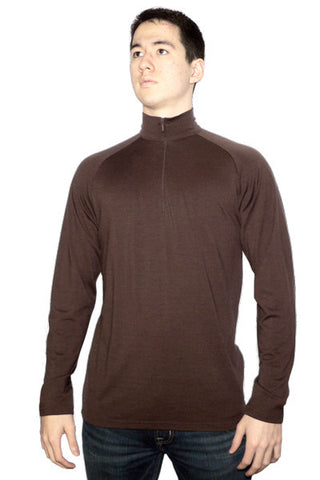 Men's Merino Long Sleeve Zip in Brown