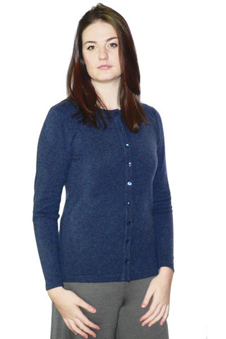Women's Long Cashmere Cardigan in Blue Heather