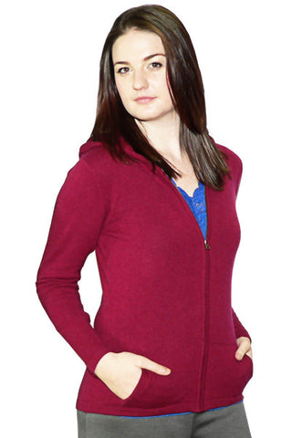 Women's Long Hoodie in Red Heather