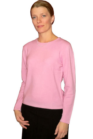 Women's Cashmere Jewel Neck in Pink Heather