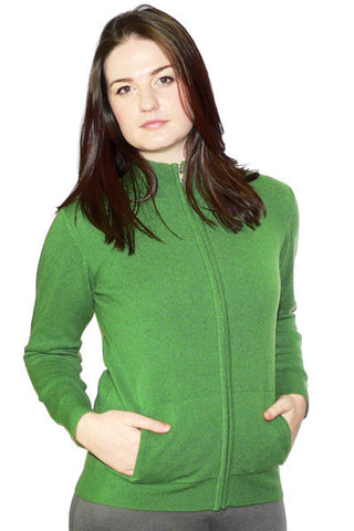 Women's Cashmere Mockneck in Apple Green Heather