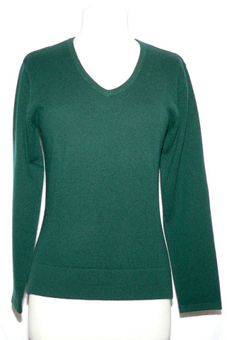 Women's Cashmere Vneck in Hunter Green