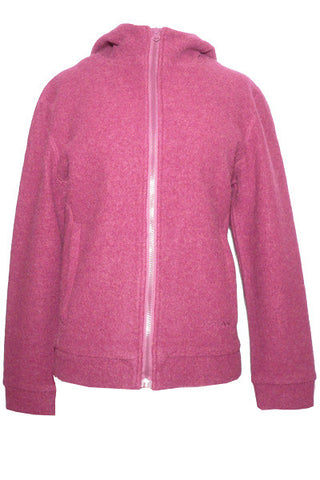 Women's Felted Merino Hooded Jacket in Plum Heather