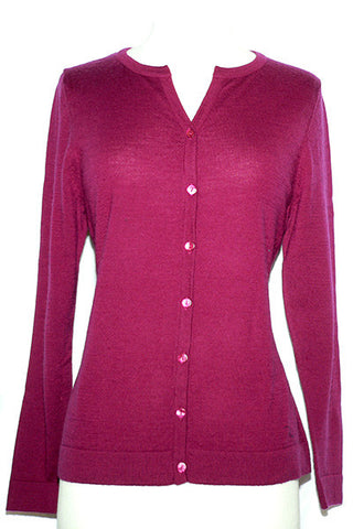 Women's Knit Merino Classic Cardigan with Jewel V Red Plum