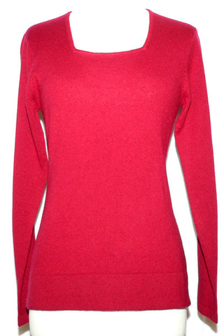 Women's Knit Merino and Cashmere Square Neck in Red