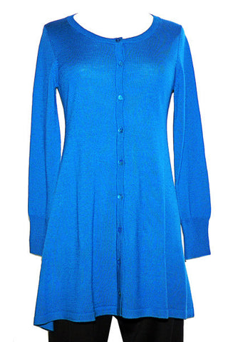 Women's Knit Merino Jewel Neck Long Cardigan Sea Port Blue