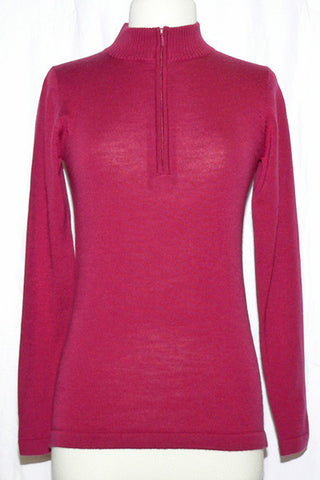 Women's Knit Merino Mock in Raspberry