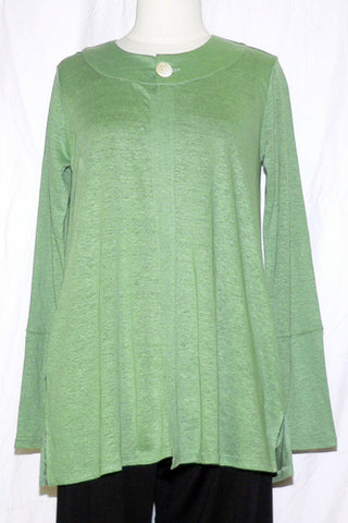 Women's Linen Button Cardigan in Light Green