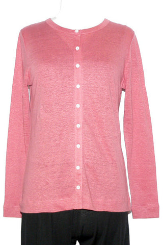 Women's Linen Cardigan in Fuchsia