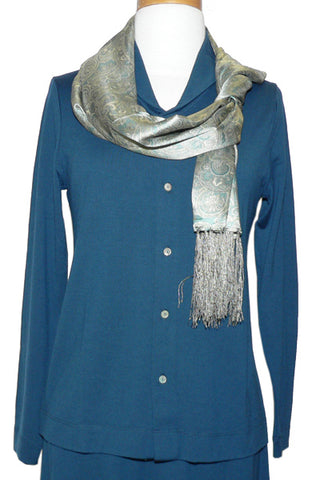 Women's Merino Johnny Collar in Sky Blue