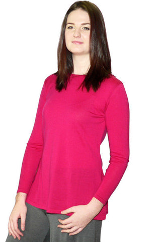 Women's Merino Tunic in Bright Rose