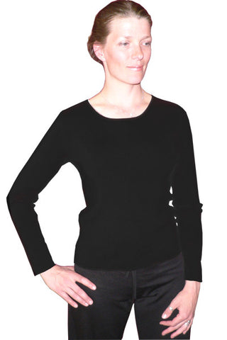 Women's Silk Double Knit Jewel in Black