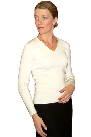 Women's Silk Double Knit V in Winter White
