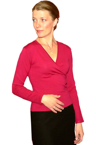 Women's Silk Wrap Long Sleeve in Raspberry