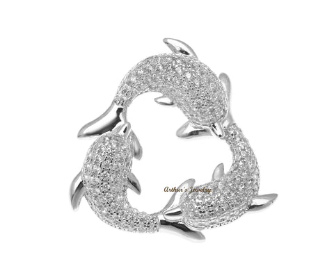 RHODIUM PLATED 925 STERLING SILVER HAWAIIAN 3 DOLPHIN PENDANT CZ 23.75MM