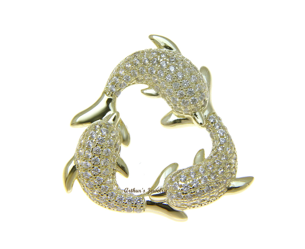 YELLOW GOLD PLATED 925 STERLING SILVER HAWAIIAN 3 DOLPHIN PENDANT CZ 23.75MM