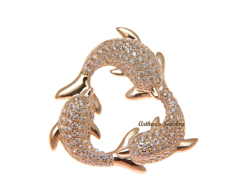 ROSE GOLD PLATED 925 STERLING SILVER HAWAIIAN 3 DOLPHIN PENDANT CZ 23.75MM