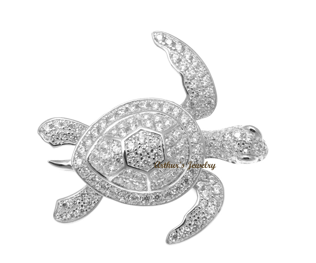 RHODIUM PLATED 925 STERLING SILVER HAWAIIAN SEA TURTLE SLIDE PENDANT CZ