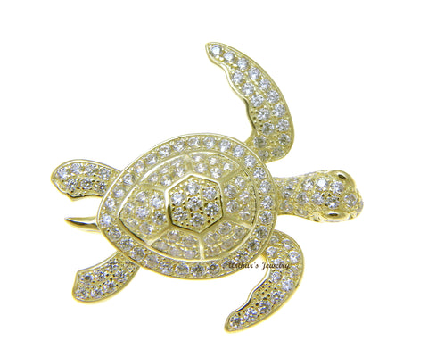 YELLOW GOLD PLATED 925 STERLING SILVER HAWAIIAN SEA TURTLE SLIDE PENDANT CZ