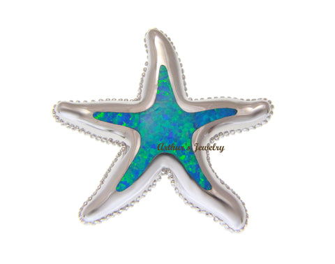INLAY OPAL HAWAIIAN SEA STARFISH SLIDE PENDANT SOLID 925 STERLING SILVER 37.60MM