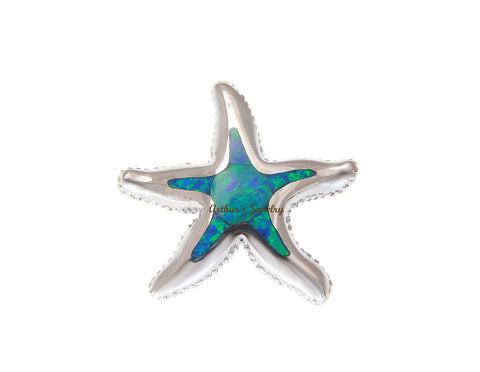 INLAY OPAL HAWAIIAN SEA STARFISH SLIDE PENDANT SOLID 925 STERLING SILVER 23MM