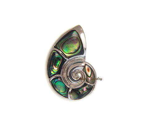 64e18b2cd2be 925 Sterling Silver Hawaiian Nautilus Abalone Paua Shell Slider Pendant