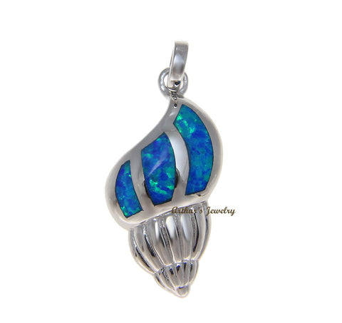 925 Sterling Silver Rhodium Hawaiian Conch Shell Blue Opal Pendant Charm
