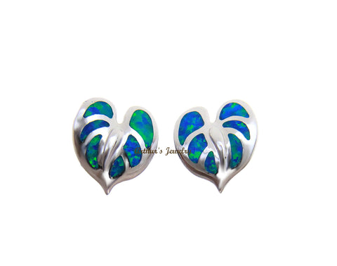 INLAY OPAL HAWAIIAN ANTHURIUM FLOWER STUD POST EARRINGS 925 STERLING SILVER 11MM