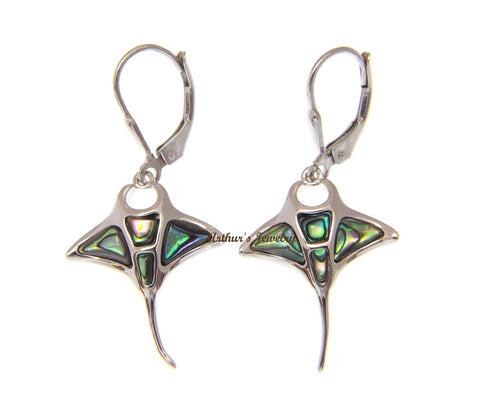 925 Sterling Silver Hawaiian Manta Ray Abalone Paua Shell Leverback Earrings