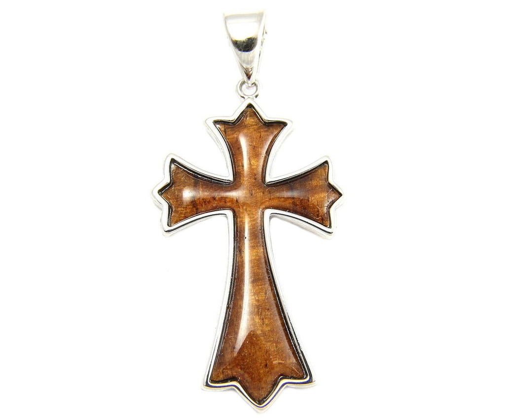GENUINE INLAY HAWAIIAN KOA WOOD CROSS PENDANT 24.5MM STERLING SILVER 925