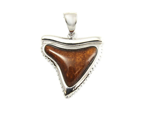 GENUINE INLAY HAWAIIAN KOA WOOD SHARK TOOTH PENDANT 21MM STERLING SILVER 925