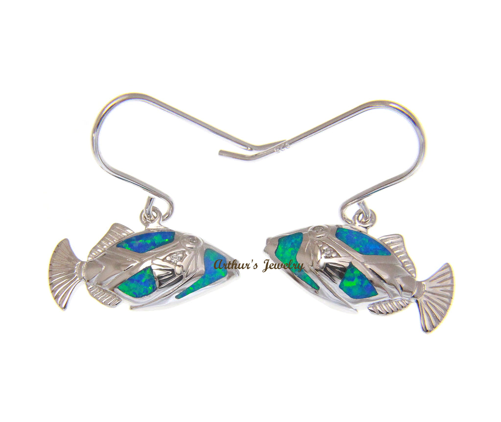 INLAY OPAL HAWAIIAN HUMUHUMUNUKUNUKUAPUA FISH HOOK EARRINGS 925 STERLING SILVER
