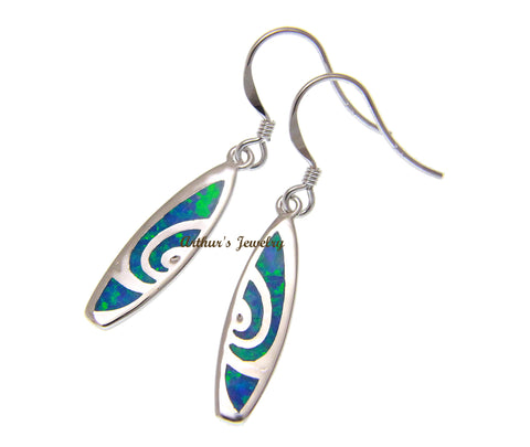 INLAY OPAL HAWAIIAN SURFBOARD WIRE HOOK EARRINGS 925 STERLING SILVER 6.4MM