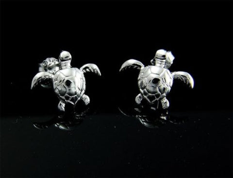 STERLING SILVER 925 HAWAIIAN HIGH POLISH SHINY SWIMMING SEA TURTLE POST EARRINGS