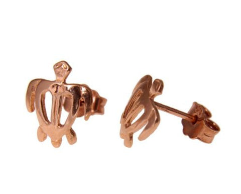 8.5MM SOLID 14K PINK ROSE GOLD HAWAIIAN HONU TURTLE STUD POST EARRINGS SMALL