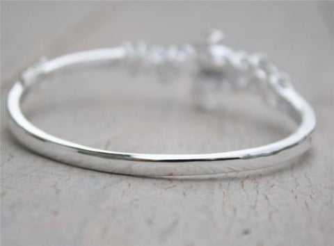 STERLING SILVER 925 MOVEABLE 3D HAWAIIAN SEA TURTLE BANGLE BRACELET 7""