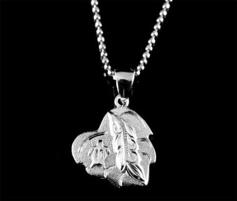 HEAVY SOLID SILVER 925 HAWAIIAN SCROLL MAILE LEAF HONU TURTLE HEART PENDANT 14MM