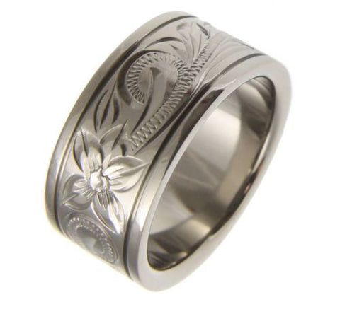 TITANIUM HAND ENGRAVED HAWAIIAN PLUMERIA SCROLL BAND RING SMOOTH EDGE 10MM