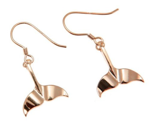 YELLOW ROSE GOLD PLATED RHODIUM SILVER 925 HAWAIIAN WHALE TAIL HOOK EARRINGS