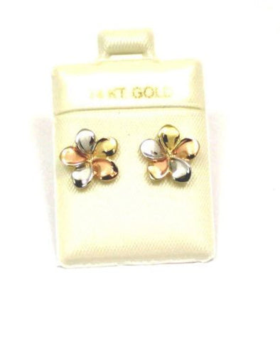 13MM SOLID 14K TRICOLOR GOLD HAWAIIAN FANCY PLUMERIA FLOWER STUD POST EARRINGS