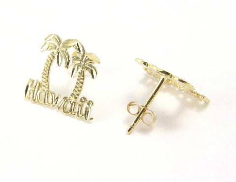 "SOLID 14K YELLOW GOLD HAWAIIAN DIAMOND CUT PALM TREE ""HAWAII"" STUD POST EARRINGS"