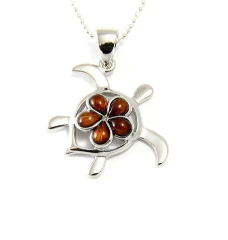 GENUINE INLAY HAWAIIAN KOA WOOD PLUMERIA FLOWER HONU TURTLE PENDANT SILVER 925