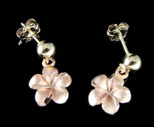 14K YELLOW GOLD 4MM BALL DANGLE ROSE GOLD HAWAIIAN PLUMERIA FLOWER POST EARRINGS