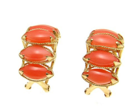 GENUINE NATURAL MARQUISE PINK CORAL EARRINGS SOLID 14K YELLOW GOLD OMEGA BACKS