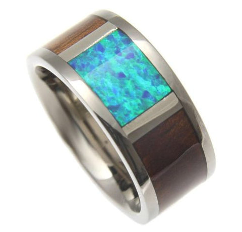 GENUINE HAWAIIAN KOA WOOD INLAY OPAL BAND RING TITANIUM COMFORT FIT 10MM