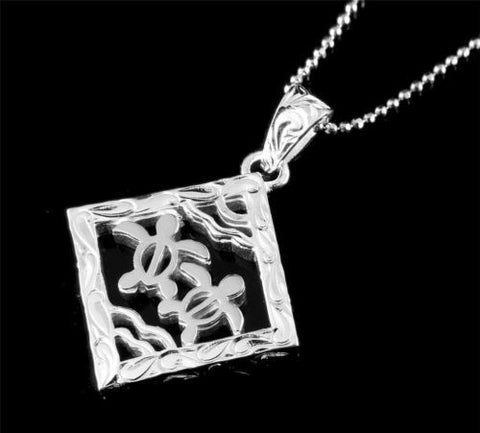 THICK SOLID 925 STERLING SILVER HAWAIIAN SCROLL 2 HONU TURTLE SQUARE PENDANT